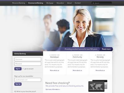 Banking website proxima nova bank web website homepage home purple login callout banner navigation dark simple