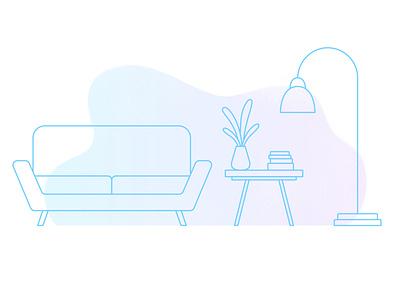 Living room frame light linear house home living room vector texture design flat illustrator illustration