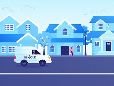 Neighborhood van painter house neighborhood blue vector texture flat illustrator illustration