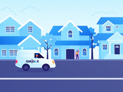 Neighborhood van painter house neighborhood blue vector texture flat illustrator illustration
