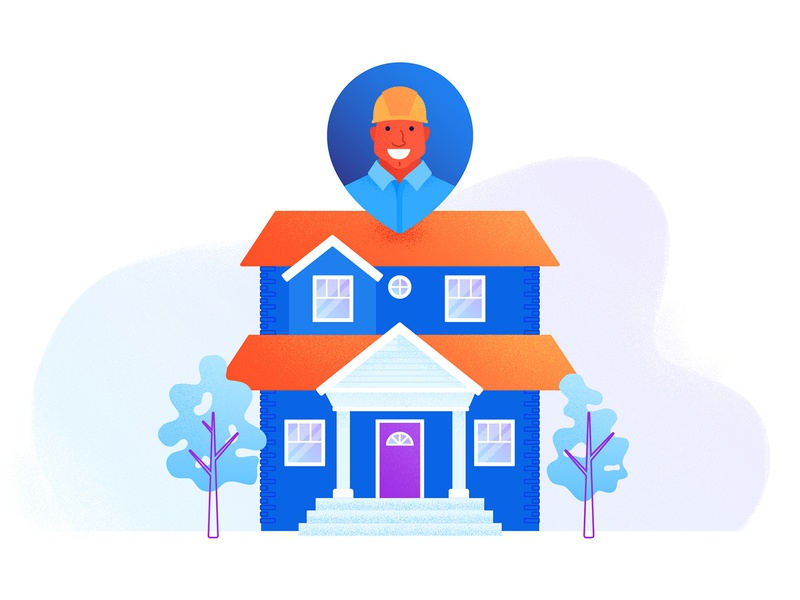 Askjack facade home house character gradient texture flat illustration flat illustrator