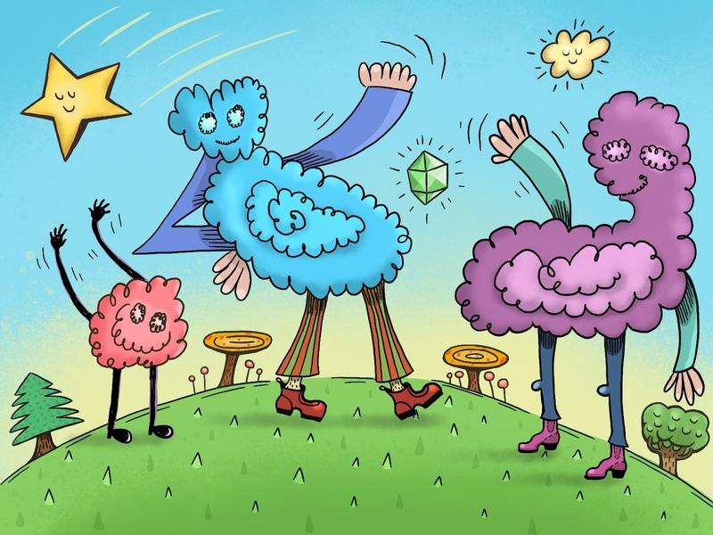 SpoonJamz and pals! cloud blobs star comic cartoon digitalart procreate illustration