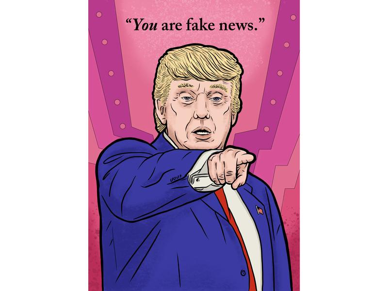 """You are fake news."" fake news coloringbook trump design comic cartoon procreate digitalart illustration"