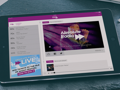 Absolute Radio Player for iPad absolute radio player app ipad native ios purple ui interface audio music