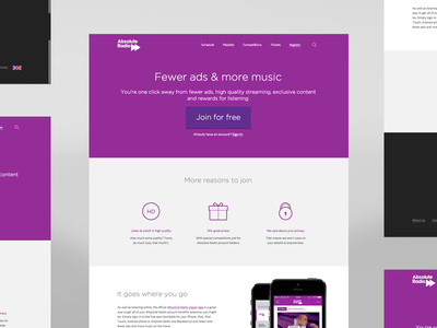 Account sign up landing page icons responsive layout purple absolute radio