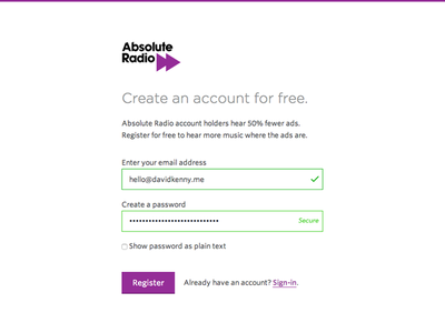 Account sign up process validation account radio purple signup forms