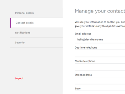 Account management/settings responsive menu settings account form