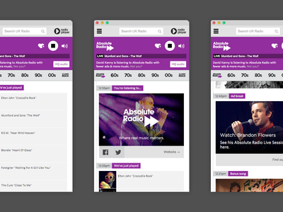Radiosync app web purple absolute music audio radio player ux ui
