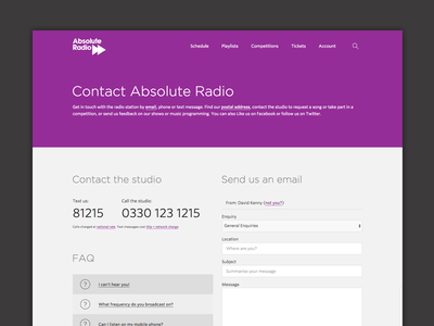 Contact Us form faq address email phone radio purple contact