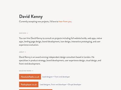Personal site grotesque brandon grey orange minimal simple portfolio