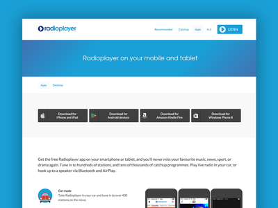 Radioplayer product page music blue buttons app radio product