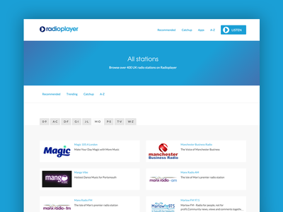 Directory templates blue a-z radioplayer radio directory template