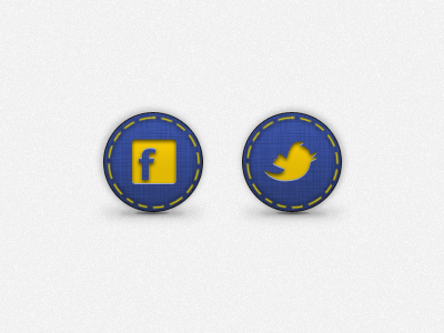 Social Media icons icon twitter facebook ios blue yellow app stitching fabric linen texture