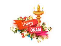 Happy Onam banner with ribbon