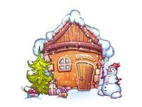 Winter cartoon home with snowman