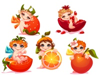 Sweet fairies with fruits