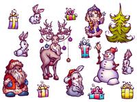 Set of New Year illustrations