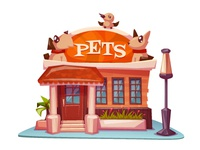 Pet shop building with bright banner.