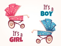 Vector set of flat baby carriage