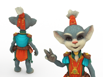 Vendor character 3d animation art model 3d fantasy gameready handpainted rigged animated game low-poly cartoon cat cute seller vendor character