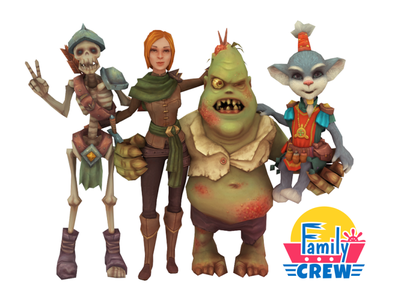 Family Crew gamedev indie game handpainted lowpoly 3d art 3d