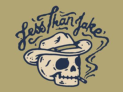 LTJ Cowboy pickitup ska less than jake cowboy skull design illustration