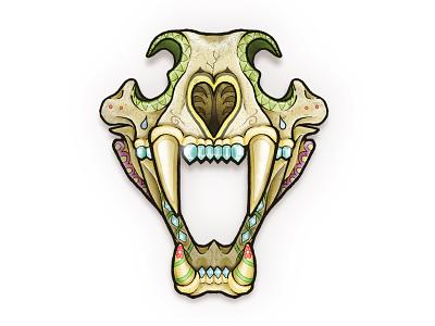 Crystal Tiger Blues tattoo tiger animal skeleton sugar skull decorative skull illustration