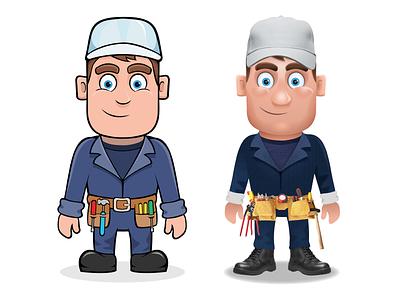 Flat vs 3D cartoon flat vector illustration character