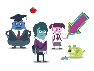 My Study Life dog illustration students