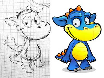 Before and After dragon cartoon illustration vector design character
