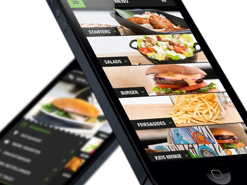 B.Easy iPhone App: Flat Interface Design restaurant list ordering food ios interface ux mobile flat iphone app ui