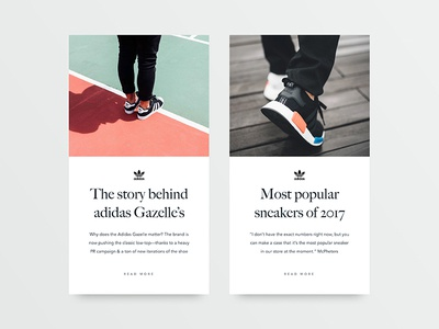 Sneakers blog– article cards graphicdesign typography minimal website blog design ux ui adidas sneakers