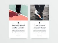 Sneakers blog– article cards