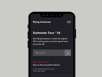 The Flying Scotsman Tours menu events ux design userinterface mobile responsive uxdesign website uiux portfolio uidesign