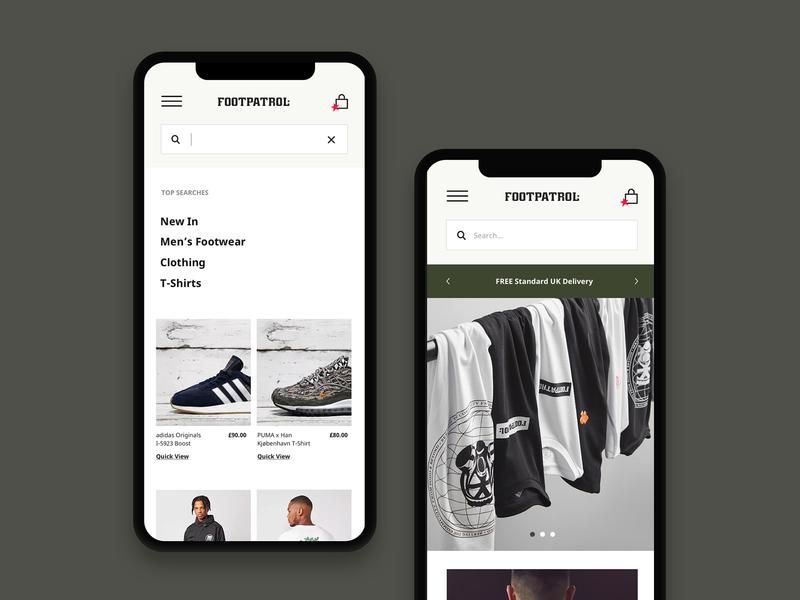 Footpatrol Navigation userinterface portfolio photography minimal search responsive mobile uidesign uiux userexperiencedesign userexperience uxdesign