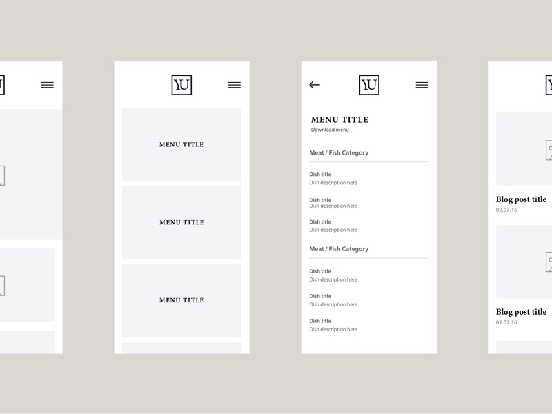YU, Alderley Edge – Menu bar menu restaurant menu photography userinterface minimal responsive webdesign portfolio uxdesign uiux uidesign