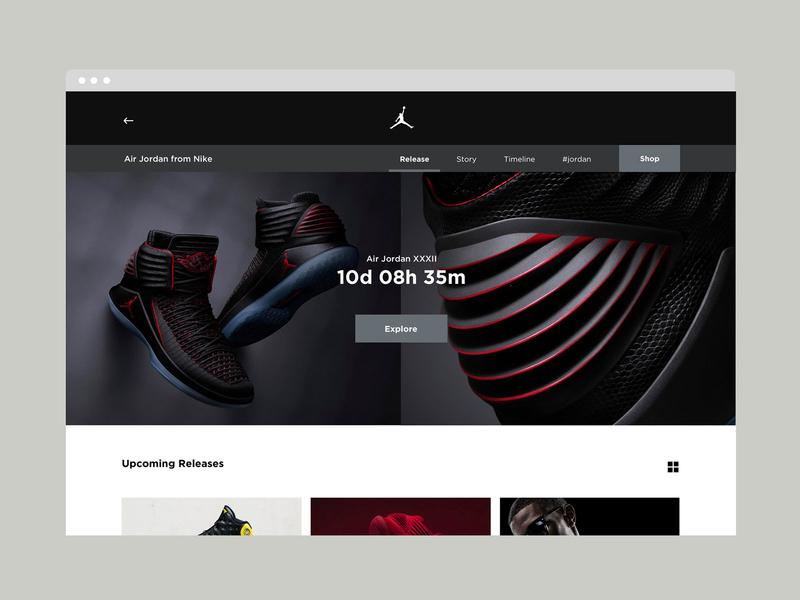 Jordan Release Calendar jordan calendar launch page sneakers photography mobile website userinterface minimal responsive webdesign portfolio uxdesign uiux uidesign