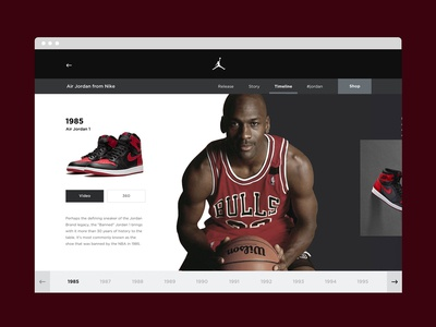 Nike Jordan Timeline jordan nike timeline design photography website userinterface minimal responsive webdesign portfolio uxdesign uiux uidesign