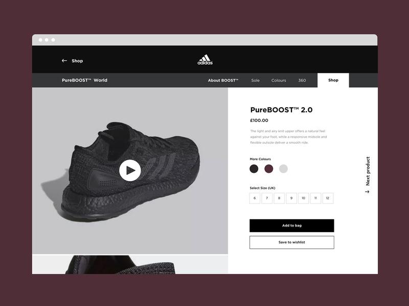 Adidas Pure Boost ecommerce shop productdetail pureboost adidas photography website userinterface minimal responsive webdesign portfolio uxdesign uiux uidesign