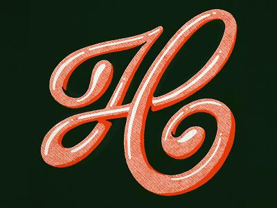 Letter H h halftone procreate illustration print logo script typography handlettering lettering type