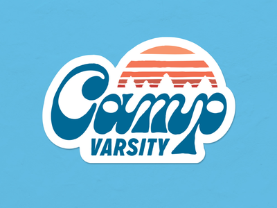 Camp Varsity camp vintage retro sticker print script type branding handlettering typography logo lettering