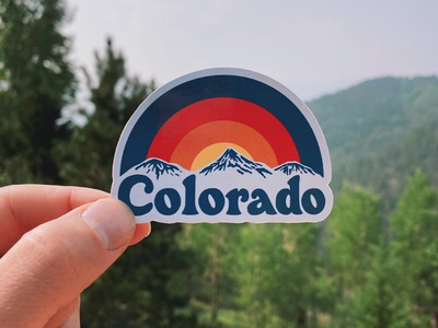 Colorado Sticker colorado mountains rainbow sticker type typography design handlettering lettering