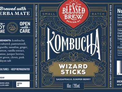 Blessed Brew label print label packaging logo kombucha food handlettering typography type lettering