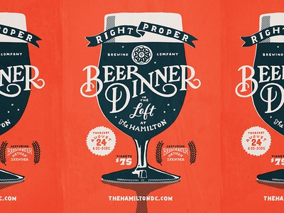 Right Proper Beer Dinner Poster beer poster print illustration handlettering lettering typography type