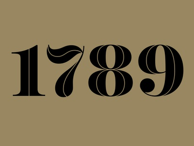 1789 gold logotype restaurant numeral number identity logo