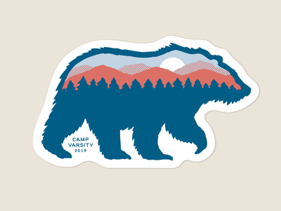 Camp Varsity Sticker design camp animal print illustration sticker bear