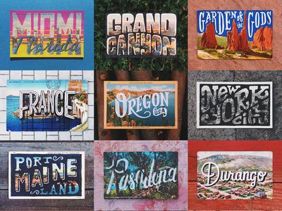 Handlettered Travel Postcards