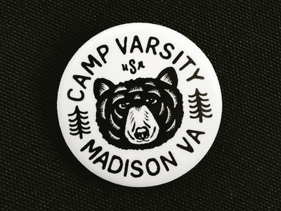 Camp Varsity Button print camp virginia bear design badge button
