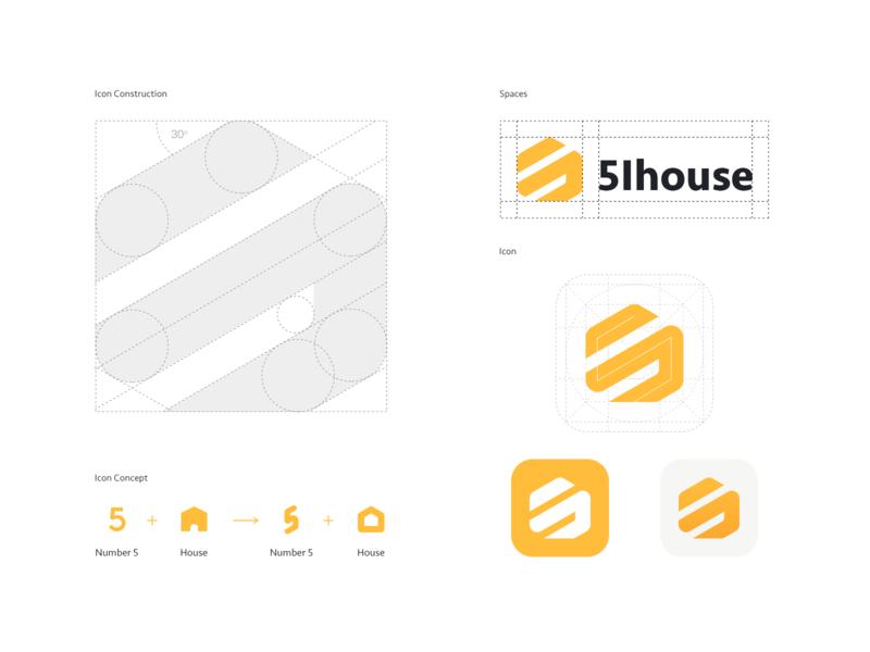 5ihouse—Icon Construction number5 5 logo icon