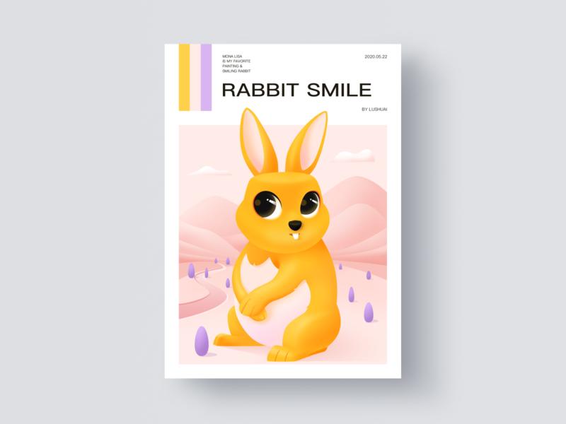 Rabbit smile scenery animal magazine cover art loveliness smile rabbit illustration